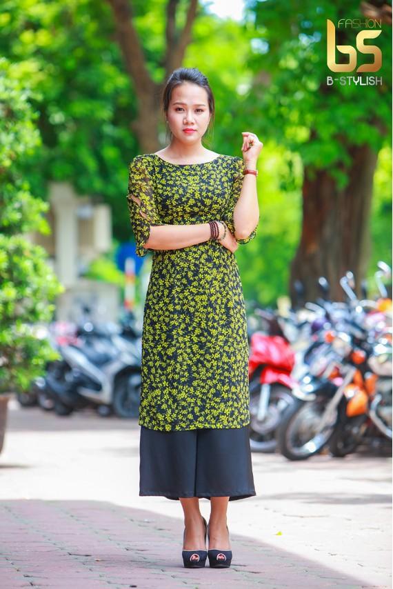 Bộ áo dài cách tân vàng chanh hoa nhí