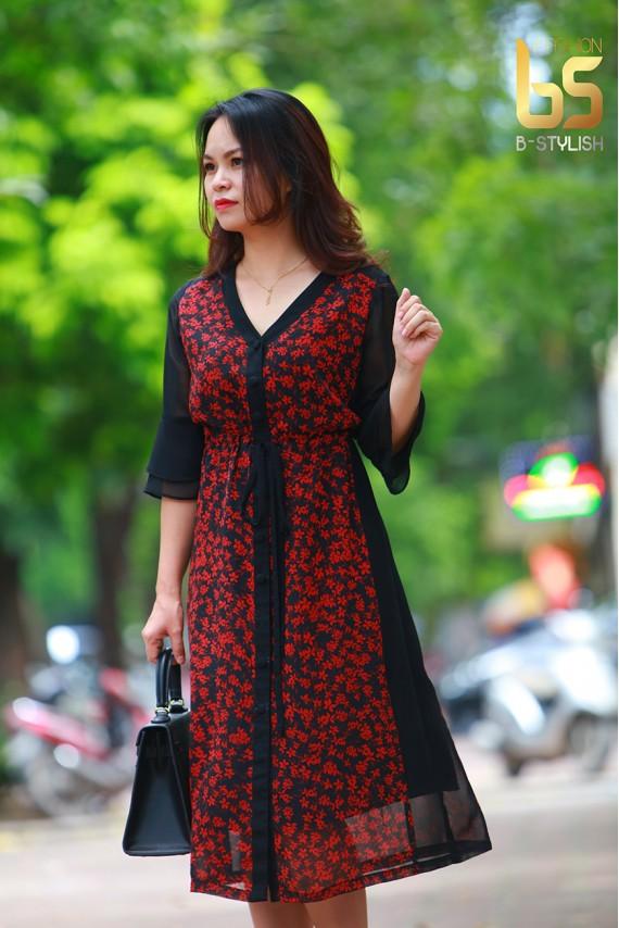 Đầm hoa nhí đỏ phối đen